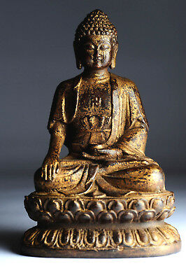 Alter Buddha China Bronze 17 cm Swastika Gold und Farbreste antik antique B50
