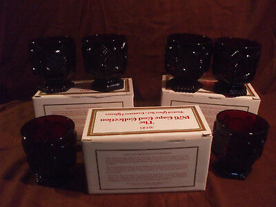Vintage Avon 1876 Cape Cod Collection Footed Glass Set Ruby Red Set of 6-3 boxes