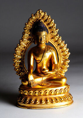 Alter Buddha China/Tibet Bronze 17 cm Gold antik antique B67c