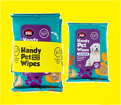 Pet Wet Wipes For Cats Dogs Kittens Puppy All Purpose - Resealable
