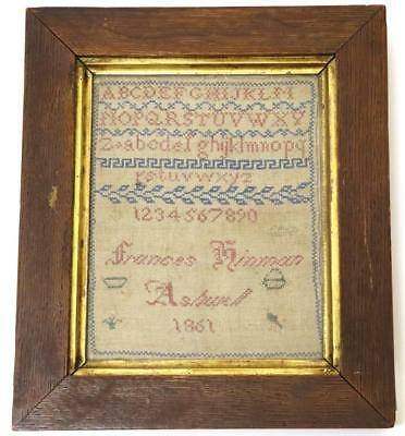Antique Sampler - France Hinman Ashwall 1861 alpabet number greek key