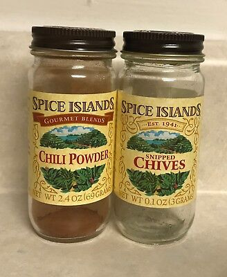 2 Bottles Jars Empty Glass Clear Spice Islands Chili Powder Chives Storage Used