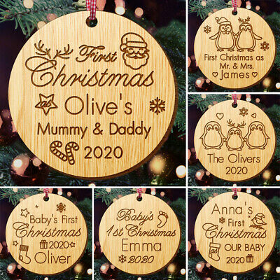 Personalised Christmas Tree Decoration Baby's First Xmas Bauble Wood Santa Gift