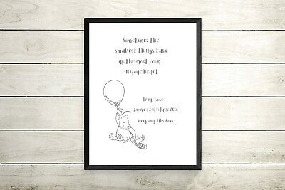 Personalised winnie the pooh A4 print-New baby gift -nursery decor
