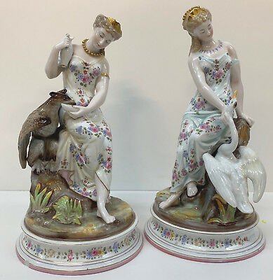 Rare Antique Pair of Germany Porcelain  Figures Classical Maidens Swan Eagle