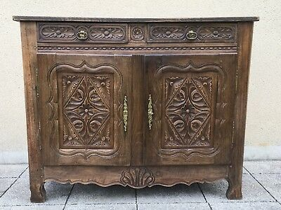 Antique French Buffet Side Board Country Cabinet In Solid Oak 19th Century