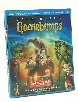 Goosebumps 3D (Blu-ray 3D+Blu-ray+DVD+Digital, 2016) NEW w/ Lenticular Slipcover