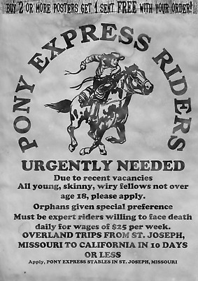 Pony Express Rider Old West Wanted Posters Orphan U.s. Mail Deliver Horseback