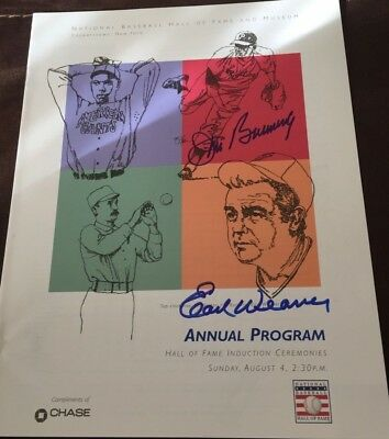 Jim Bunning Phillies Earl Weaver Orioles Signed Hall Of Fame Induction Program