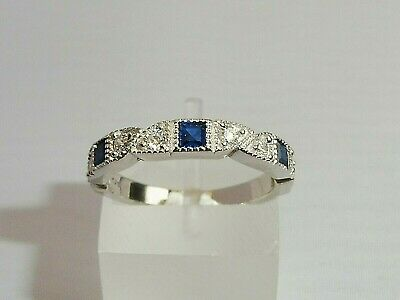 Ladies Art Deco Halo Style 925 Sterling Silver Blue White Sapphire Eternity Ring