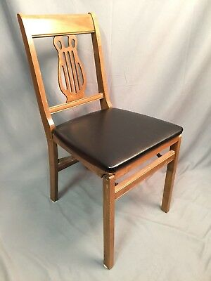 Stakmore Folding Chair Vintage Wood Seating Made In USA