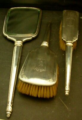 Birks Sterling Silver 7 Piece Grooming Set Deco Design c 1930's