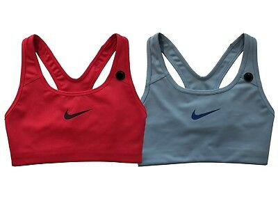 d95a43bda06c2 Nike Womens Pro Dri-Fit Classic Swoosh Compression Sports Bra Blue Pink New