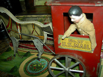 Gibbs antique wood & metal litho No27 US Mail litho horse & wagon pull toy c1900