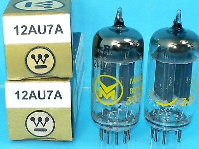 WESTINGHOUSE 12AU7 ECC82  VACUUM TUBE LONG PLATE 1960s MATCH PAIR SWEET TONE