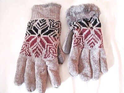 NEW! Isotoner Signature Womens SmarTouch Chenille Knit Gloves One Size Gray