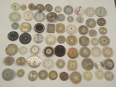 Job Lot Mixed Vintage Wristwatch Dials Spare Part For Watchmakers