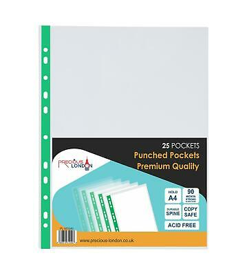 Punched Pocket A4 extra strong Premium 90 micron transparent Pockets Clear Files