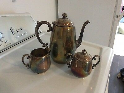 Silver Plated William Rogers Teapot with Cream and Sugar