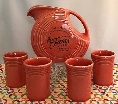 Fiestaware Persimmon Disc Pitcher 4 Tumblers Retired Orange 60th Anniversary Set