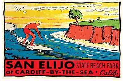 Cardiff By The Sea  San Elijo  California  vintage  surfing decal Travel Sticker