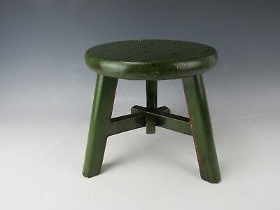 A Chinese Antique Style Walnut Green Color Round Face Stool H:8.5-inch