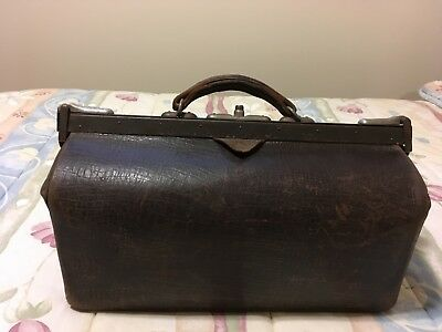 Vintage Gladstone Bag, faux crocodile with leather straps, collector's item