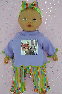 "Play n Wear Doll Clothes For 13""Little Baby Born/Mommy STRIPE PANTS~TOP~HEADBAND"