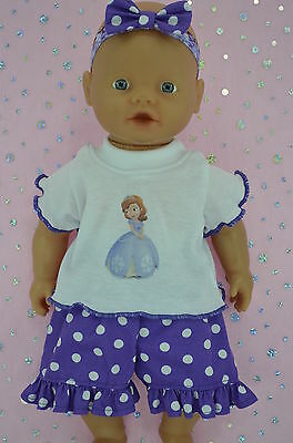"Play n Wear Doll Clothes 13""Little Baby Born/Mommy POLKA DOT PANTS~TOP~HEADBAND"