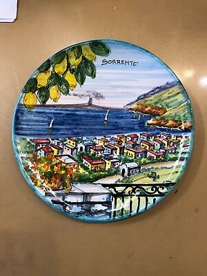 Vietri Pottery-8 inch Plate Sorrento scenery.Made/Painted by hand in Italy