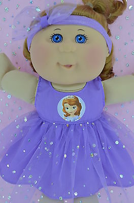 "Play n Wear Doll Clothes To Fit 14"" Cabbage Patch LILAC SEQUIN DRESS~HEADBAND"