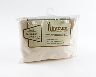 Linteum Textile 27x39 in, Beige Natural Organic Cotton CRIB SHEET for pads