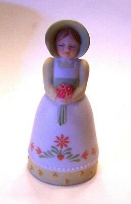 Garden Lady Holding Bouquet BELL source of fine collectibiles AVON 1985