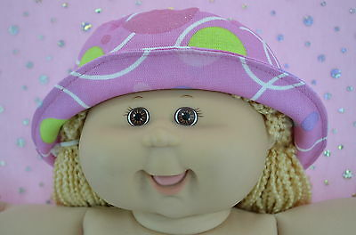 """Play n Wear Doll Clothes To Fit 16"""" Cabbage Patch CANDY PINK/SPOT DRILL SUN HAT"""
