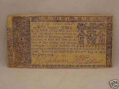Fine 242 yr old COLONIAL CURRENCY NOTE $4 April 10, 1774 - MARYLAND