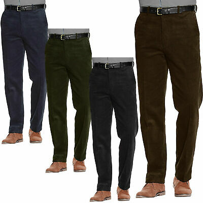 Mens Corduroy Trousers Belted Formal Smart Cotton Cord Casual Classic Pants  ...