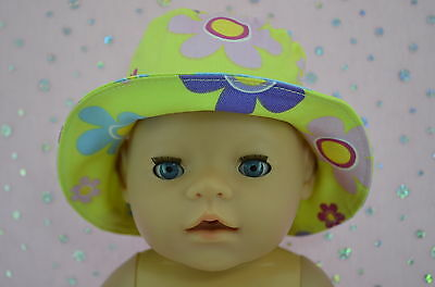 "Play n Wear Doll Clothes To Fit 17"" Baby Born YELLOW/FLOWER DRILL SUN HAT"