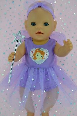 "Play n Wear Doll Clothes To Fit 17"" Baby Born LILAC FAIRY~PANTS~HEADBAND~WAND"
