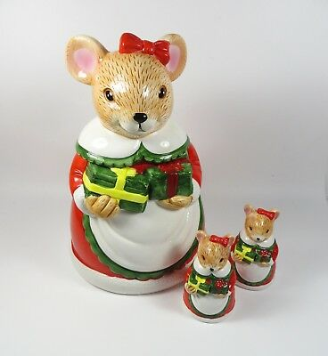 Ceramic QVC Holiday Christmas Mouse Cookie Jar w/ Matching Salt & Pepper Shakers
