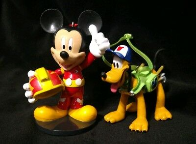 Disney Mickey Mouse and Pluto Christmas Ornament Set Roadsters pit crew