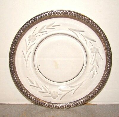 "Vintage Sterling Rimmed 5 7/8"" Glass Plate"