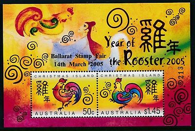 2005 CHRISTMAS ISLAND YEAR OF ROOSTER M/S BALLARAT STAMP FAIR No213 OPT MINT MNH