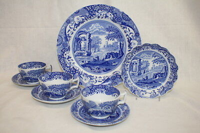 Lot of 8 Pc. Blue Italian by SPODE Camilla  Cups, Saucers, Bowl, Plate; Mint