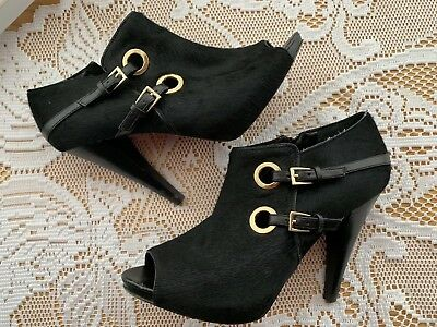 26419418dabb9 Saks Fifth Ave Calf Hair Ankle Booties Peep Toe Gold Accent Sz 7.5 SF-FABLE