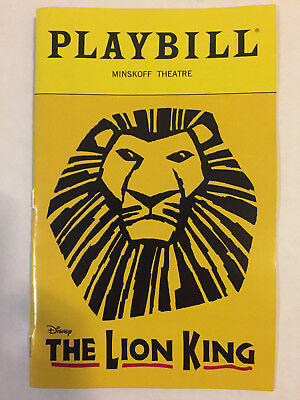 Lion King Playbill Book New York City Nyc Broadway October 2018