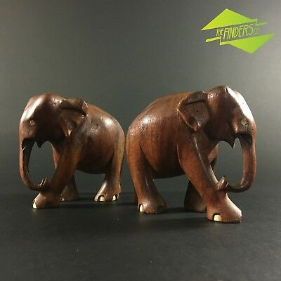 Very Nice Two Antique Rosewood & Bone Hand Carved Elephant Sculptures