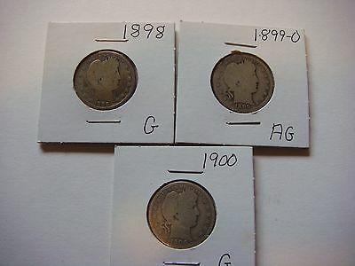 Lot of 3  Barber Quarters  1898, 1899-O, 1900, nice old coins  #9586