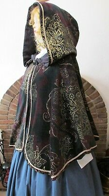 Ladies Victorian Style Hooded Mantle Cape Christmas Carol Costume New Outlander