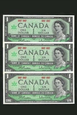 Canada  Bank Note  1967  $1   Lot Of   3   Uncirculated   Condition
