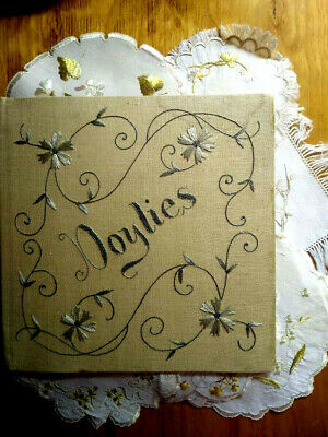 RARE Antique Society Silk 'Doylies' Holder/Booklett with 12 Doilies too!